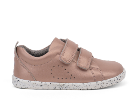 Bobux Grass Court Leather Trainer (Rose Gold)